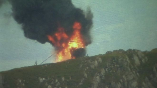 Helicopter on fire in Snowdonia