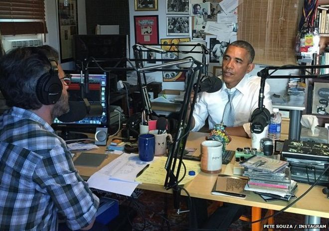 President Obama recording the podcast in Marc Maron's garage