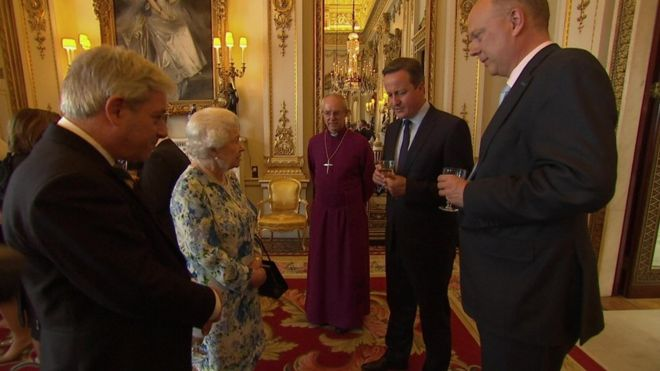 The PM was speaking with the Queen, the archbishop of Canterbury, Speaker John Bercow and Commons Leader Chris Grayling