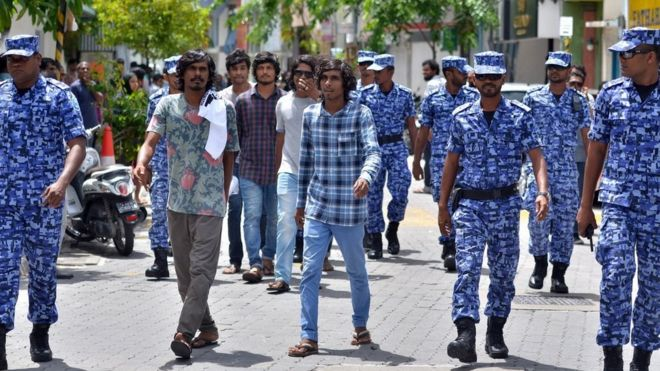 Maldives police patrol the streets of the capital Male. Maldives President Abdulla Yameen on October 25, 2015