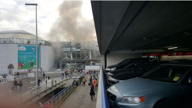 Brussels airport explosion site, 22 March