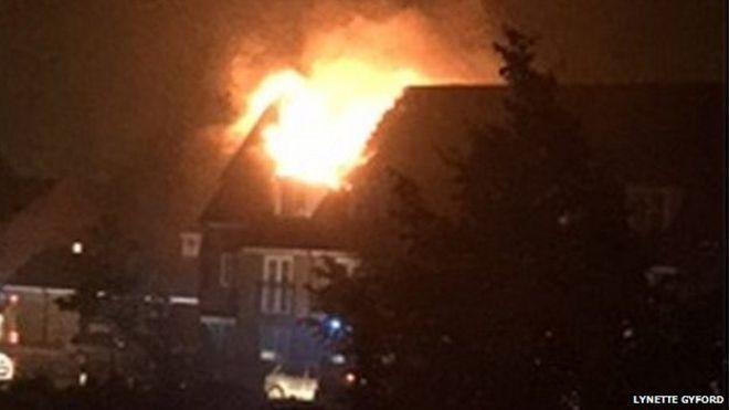 House on fire after lightning strike in Braintree