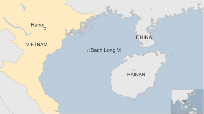 Map showing Bach Long Vi in Vietnam