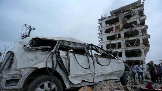 The scene of the blast at the Jazeera Palace Hotel in Mogadishu 26/07/2015