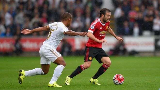 Juan Mata in action against Swansea