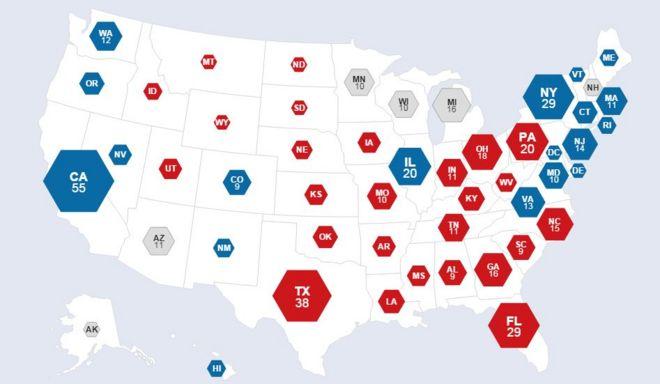 En azul, los Estados que ganó Clinton y en rojo los de Trump.