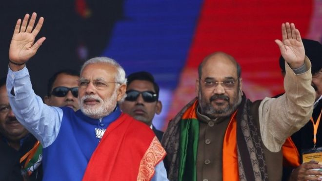 Indian Prime Minister Narendra Modi (L) and Amit Shah, the president of India