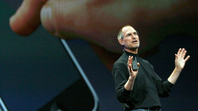 Steve Jobs unveiling the first iPhone in 2007
