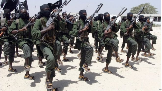 Hundreds of newly trained Shabab fighters perform military exercises in the Lafofe area some 18 km south of Mogadishu, Somalia