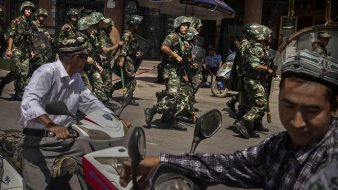 For years, there has been violence between Chinese security forces and the Uighurs in the Xinjiang region. (Photo courtesy of BBC)