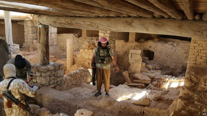 Islamic State militants in Mar Elian monastery