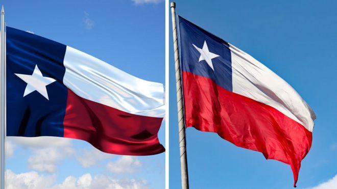 Bandera Texas (izquierda), bandera Chile (derecha)