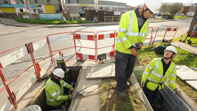 BT workers installing broadband cables