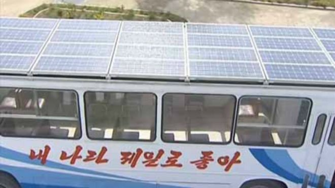 Solar powered bus as seen on Korean Central TV