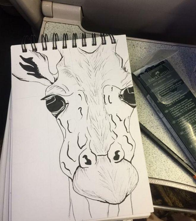 Lindsey Farquhar drew a giraffe on her commute