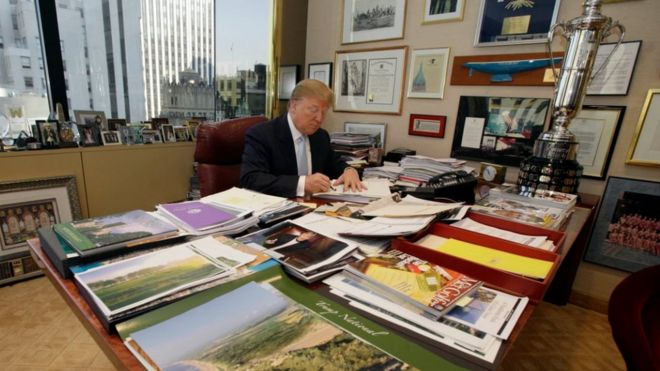 Donald Trump at his desk in Trump Tower in 2010