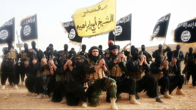 Islamic State fighters (undated image)