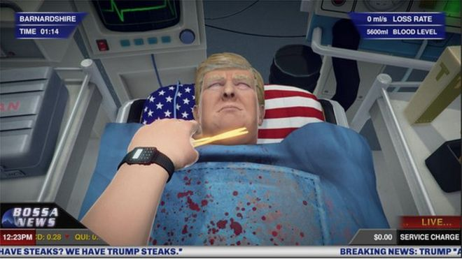 A screen shot of Donald Trump from the game Surgeon Simulator where the Republican front runner is given a heart operation.