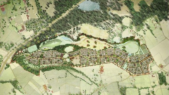 Artist's impression of overhead view of housing scheme