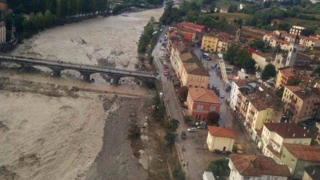 Piacenza was one of the areas hit by flash floods and landslides on Monday