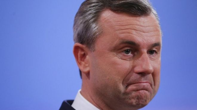 Far-right presidential candidate in Austria, Norbert Hofer, after the result becomes clear, 4 December 2016