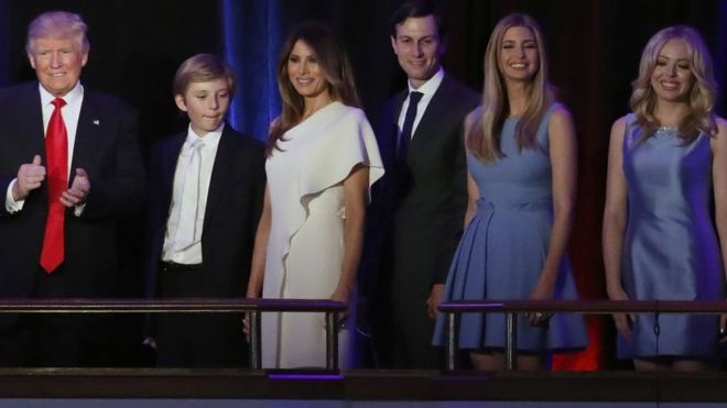 The Trump family on stage at Donald's victory speech