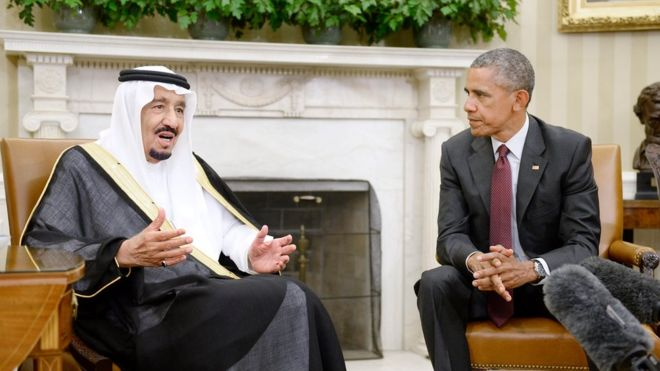 US President Barack Obama (R) and King Salman bin Abdulaziz Al Saud of Saudi Arabia during a bilateral meeting in the Oval Office of the White House in Washington, DC