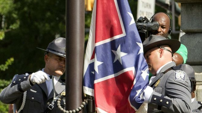 Confederate flag taken down outside South Carolina state house in Columbia. 10 July 2015