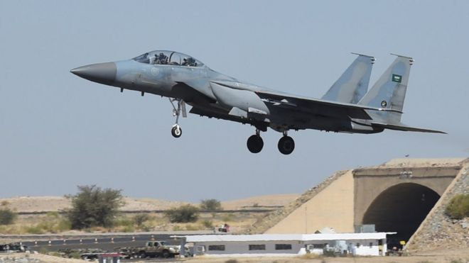 a Saudi F-15 fighter jet landing at the Khamis Mushayt military airbase, some 880 km from the capital Riyadh, as the Saudi army conducts operations over Yemen. - December 2015