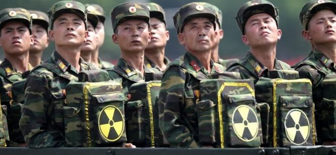 North Korea nuclear tests  what did they achieve    BBC News North Korean soldiers pose with packs bearing the nuclear emblem in Pyongyang  July
