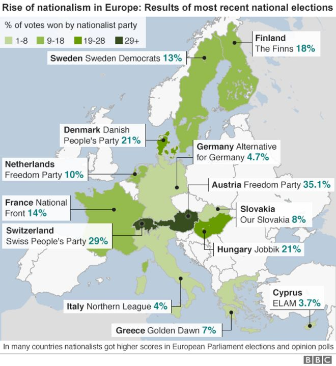 Guide to nationalist parties challenging Europe BBC News – Germany Denmark Map