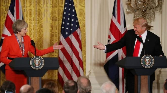 British Prime Minister Theresa May and US President Donald Trump.