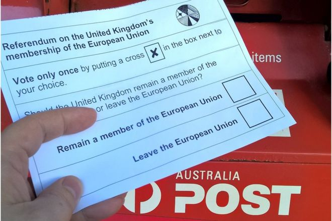 Vote card for the EU referendum