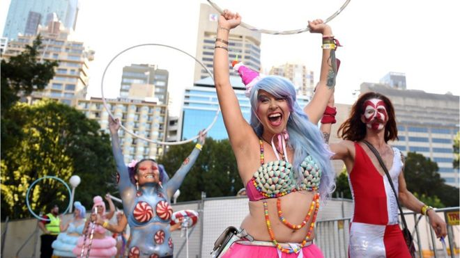 participants enjoy the 38th annual gay and lesbian mardi gras parade in sydney australia bbc sydney offices office