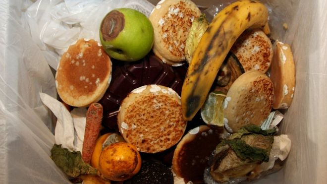 Food in a waste bin (Image: BBC)