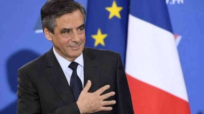 Francois Fillon greets supporters after results of run-off are known, on 27 November 2016