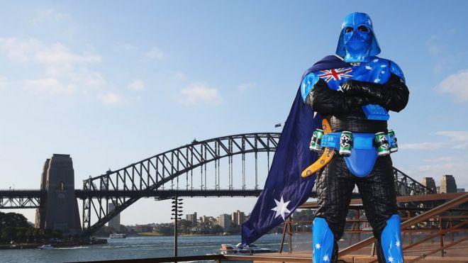 mick fett in costume with his unique interpretation of darth vader bbc sydney offices office