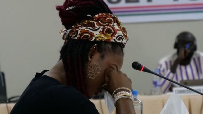Former Gambian beauty queen, Fatou Jallow, accused former President Yahya Jammeh of raping her as a punishment for rejecting his marriage proposal during a testimony before the country's Truth and Reconciliation Commission in Banjul on October 31, 2019