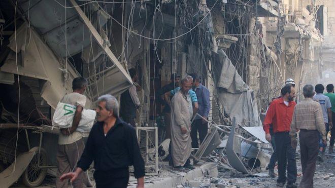 Site in the al-Qaterji district of Aleppo following air strike - 11 October