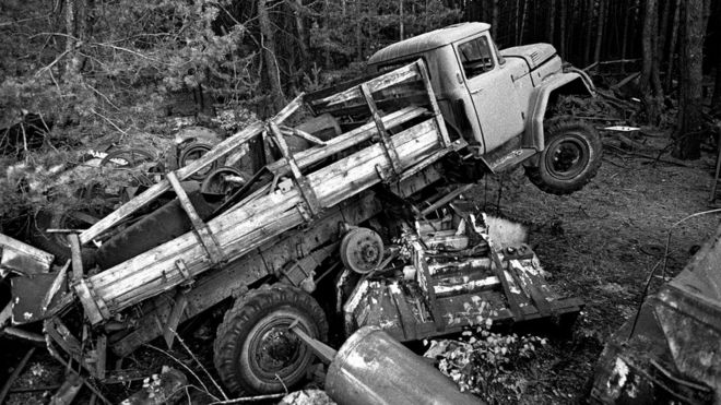 Old vehicles near Pripyat which were used during the rescue operation
