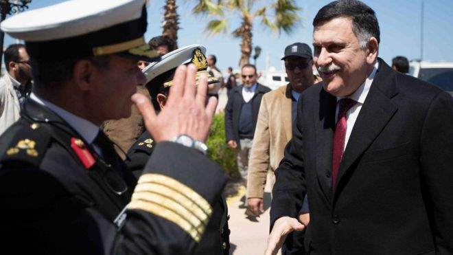 Libya's unity government Prime Minister Fayez Sarraj arriving at a naval base in Tripoli, Libya - Wednesday 30 March 2016