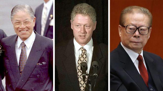 (左到右)前台湾总统李登辉、前美国总统克林顿、前中国国家主席江泽民
