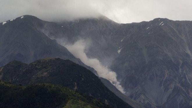 Deslizamiento provocado por una réplica del terremoto en la cordillera de Kaikoura.