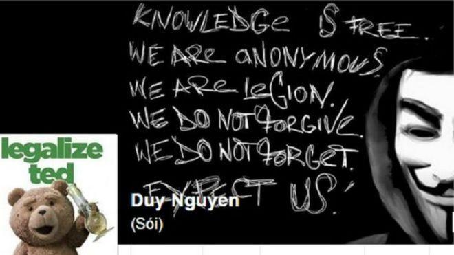 Trang Facebook của Nguyễn Hữu Quốc Duy khi chưa bị đóng
