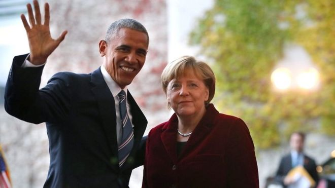 Barack Obama and Angela Merkel at the Federal Chancellery in Berlin on 17 November 2016