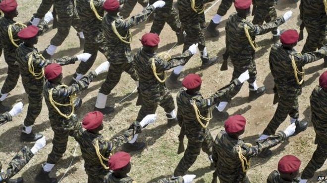 South Sudanese soldiers marching in independence day celebrations in Juba, 2015