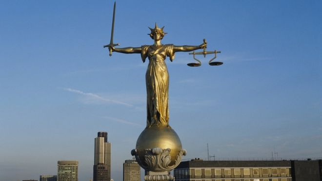 Scales of justice on top of the Old Bailey