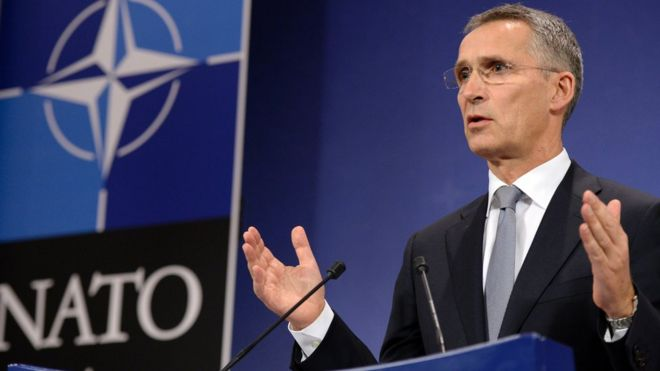 """NATO Secretary-General Jens Stoltenberg delivers a press conference after a NATO defence ministers"""" meeting at the NATO headquarters in Brussels on October 27, 201"""