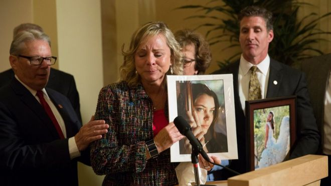 The case of Brittany Maynard (shown in a picture held by her mother) helped draw support for the law