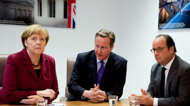 Angela Merkel, David Cameron and Francois Hollande